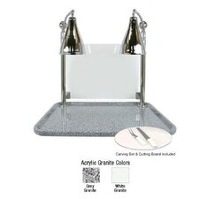 Flex Dual Stainless Steel Lamp Rectangular Carving Station with Sneeze Guard