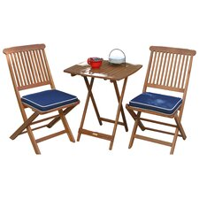 3 Piece Bistro Dining Set with Blue Cushions