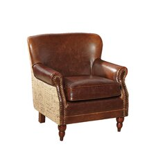 Petite Leather and Burlap Script Arm Chair
