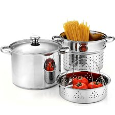 Stainless Steel 4-Piece Pasta Cooker Steamer Multi-pot,8-Qt