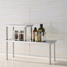 2 Piece Stainless Steel Square Accent Storage Shelf Set