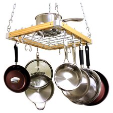 Ceiling Mount Wooden Pot Rack, 24 by 18-Inch