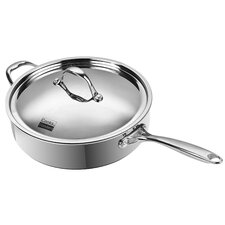 Multi-Ply Clad Stainless-Steel Covered Deep Saute Pan