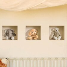 3D Effect Nursery Stuffed Toy Wall Mural