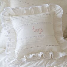 Hugs Embroidered Toss Cotton Throw Pillow