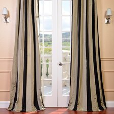 Faux Silk Taffeta Stripe Rod Pocket Single Curtain Panel