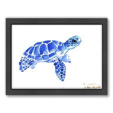 Tortoise 2 by Suren Nersisyan Framed Painting Print in Blue
