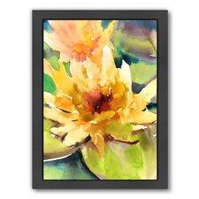 Lotus by Suren Nersisyan Framed Painting Print in Yellow