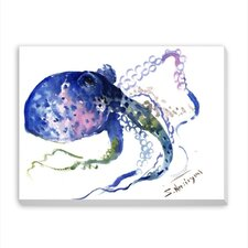 Blue Octopus Painting Print on Gallery Wrapped Canvas