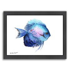 Discus 2 by Suren Nersisyan Framed Painting Print in Blue