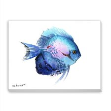 Blue Discus 2 Painting Print on Wrapped Canvas