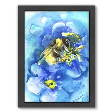 Bee by Suren Nersisyan Framed Painting Print in Blue
