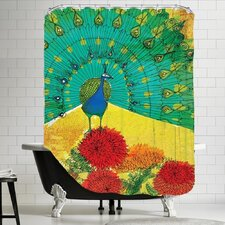 Peacock Wooden Shower Curtain