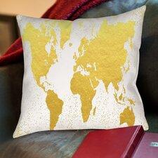 Confetti World Map Poly Poplin Throw Pillow