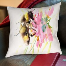 Bee And Soft Flowers Cotton Throw Pillow