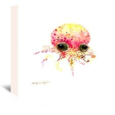 Baby Octopus Peach Color by Suren Nerisyan Painting Print on Wrapped Canvas