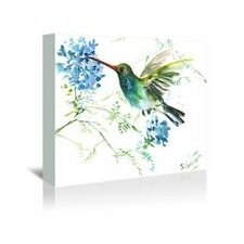 Hummingbird with Blue Flowers Painting Print on Wrapped Canvas