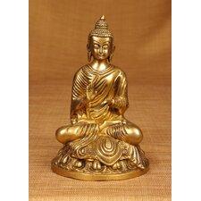 Brass Series Buddha Statuette on Lotus Figurine