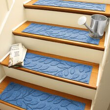 Aqua Shield Medium Blue Brittany Leaf Stair Tread (Set of 4)