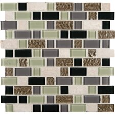 Interlocking Stonecrest Random Sized Glass and Natural Stone Mosaic Tile in Multi