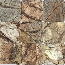 Cafe Forest 4'' x 4'' Marble Field Tile in Brown