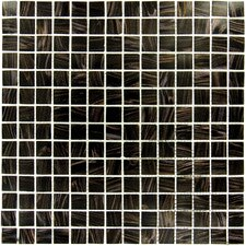 0.75'' x 0.75'' Glass Mosaic Tile in Black Iridescent