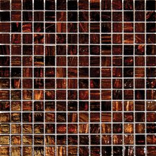 0.75'' x 0.75'' Glass Mosaic Tile in Brown Iridescent