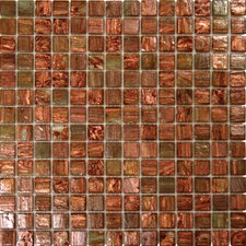 1'' x 1'' Glass Mosaic Tile in Light Brown Iridescent