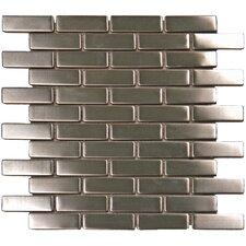 0.75'' x 2.5'' Metal Mosaic Tile in Silver