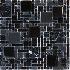 Pattern Random Sized Glass Mosaic Tile in Black