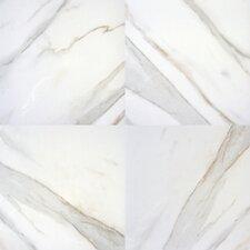 "Pietra Calacatta 18"" x 18"" Porcelain Field Tile in White"