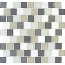 "Glacier Peak Mounted 1.25"" x 1.25"" Glass Stone Mosaic Tile in Multi"