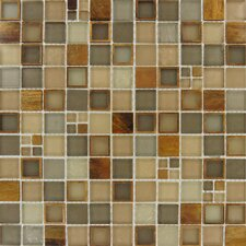 Manhattan Mounted Blend Random Sized Glass and Metal Mosaic Tile in Brown