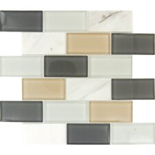 "Glacier Peak Mounted 2"" x 4"" Glass Stone Subway Tile in Multi"