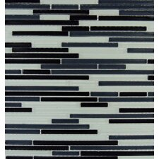 Bamboo Mounted Random Sized Glass Mosaic Tile in Black and White