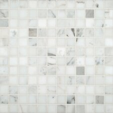 "Calacatta Gold 1"" x 1"" Marble Mosaic Tile in White"