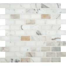 "Calacatta Gold Mounted 1"" x 2"" Marble Subway Tile in White"