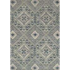 Leyda Hand-Tufted Gray/Denim Area Rug
