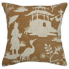 Floral Chinoiserie Linen Throw Pillow