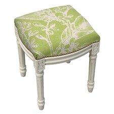 Floral Botanical Linen Upholstered Vanity Stool