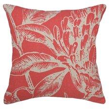 Floral Coral Botanical Linen Throw Pillow