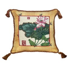 Floral Lotus Needlepoint with Trimmed Wool Throw Pillow