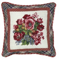 Floral Pansy Needlepoint Wool Throw Pillow