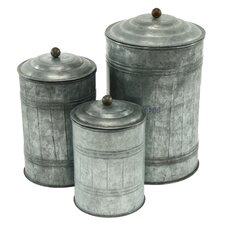 3-Piece Galvanized Metal Canister Set