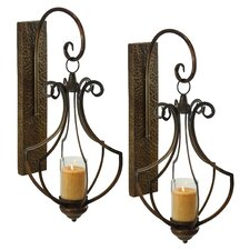Ribley Metal and Glass Sconce (Set of 2)