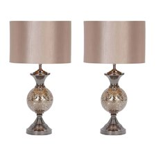 "Hettie 25"" H Table Lamp with Drum Shade (Set of 2)"