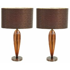 "Kiara Modern 25"" H Table Lamp with Drum Shade (Set of 2)"