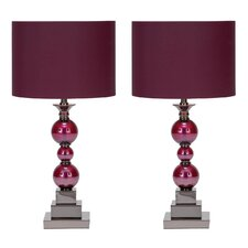 """Bennie 24"""" H Table Lamp with Drum Shade (Set of 2)"""
