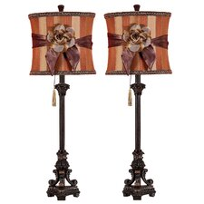 """Valencia Buffet 33"""" H Table Lamp with Drum Shade (Set of 2)"""