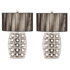 """Arati III 28"""" H Table Lamp with Drum Shade (Set of 2)"""